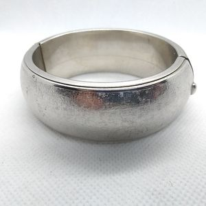 Jewelry - Brushed Silver Tone Hinged Bangle Bracelet, Chunky